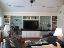 family entertainment, custom built in cabinets